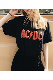 t-shirt,black,fashion,style,trendy,cool,ac/dc,rock,festival,summer,band t-shirt,beautifulhalo