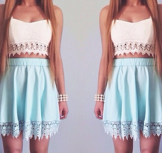 shirt mint skirt tank top blouse white crop tops white blue skirt blue top