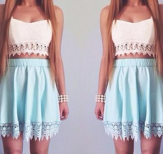 shirt mint skirt tank top blouse white crop tops white blue skirt blue top
