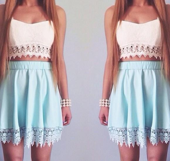 skirt blue skirt blue white white crop tops shirt mint tank top blouse