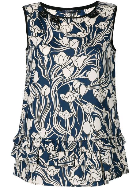 'S Max Mara blouse women floral cotton print blue top