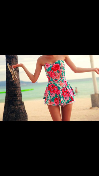 dress sleeveless floral sleeveless girly short