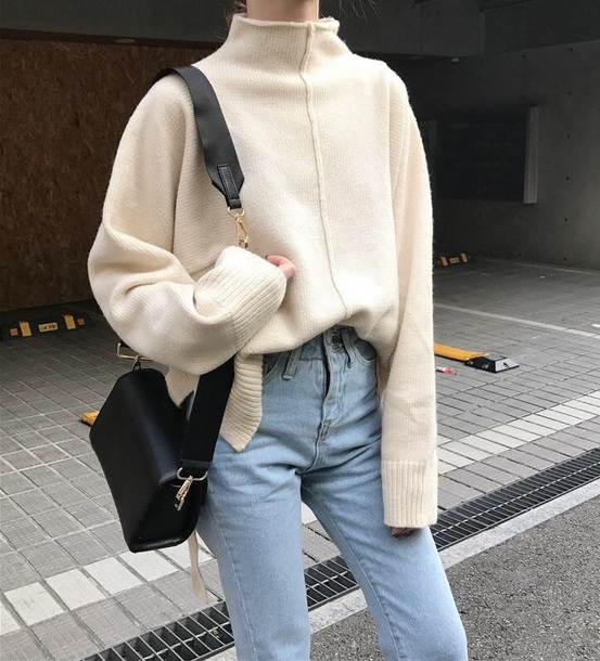 sweater girly sweatshirt jumper outfit fall outfits tumblr turtleneck turtleneck sweater oversized sweater bag