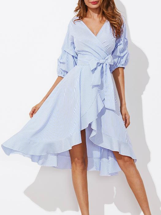 Girly Balloon Sleeve Frill Midi Dress – WhatsMode