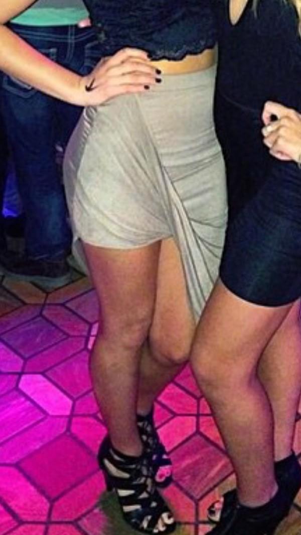 skirt high low skirt beige skirt