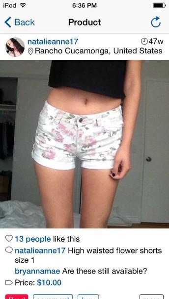 shorts white floral shorts