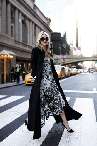 coat tumblr black coat long coat maxi dress asymmetrical asymmetrical dress floral floral dress sunglasses round sunglasses pumps pointed toe pumps high heel pumps black heels classy holiday season