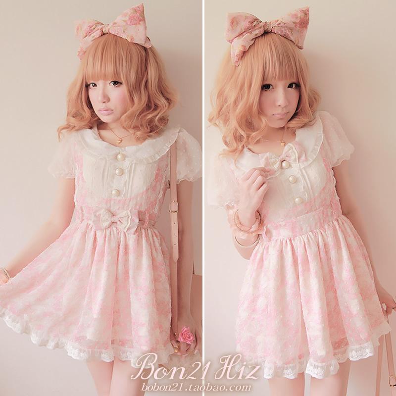 Sweet lolita princess pink lace gentlewoman faux two piece suspenders dress one piece dress d0821 bow tie belt dual