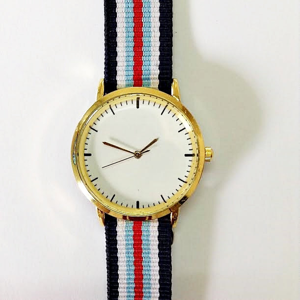 Freeforme Watch - Taft Avenue , Vintage Style Leather Watch, Women Watches, Boyfriend Watch , Men's Watch, Nylon , Stripes