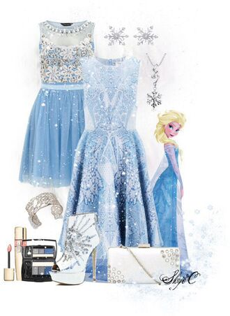 dress elsa cute disney disney clothes frozen blue dress light blue sparkle dress snowflake glitter shoes jewelry cute dress pll ice ball shoes