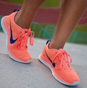 shoes,nike,flyknit,neon,neon peach,orange,pink,blue,nike flyknit,coral,navy,free flyknit,nike running shoes,running shoes,swoosh