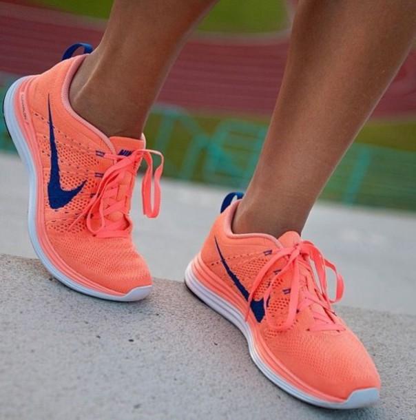 52783c89f0f2 shoes nike flyknit neon neon peach orange pink blue nike flyknit coral navy  free flyknit nike