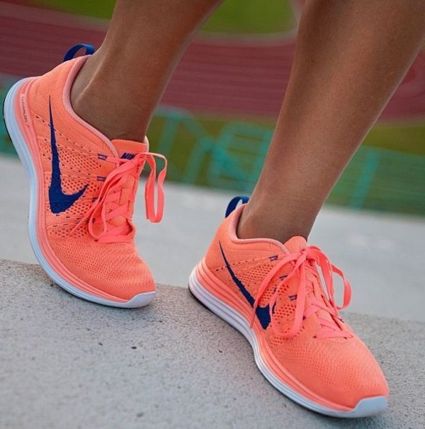 shoes nike flyknit neon neon peach orange pink blue nike flyknit