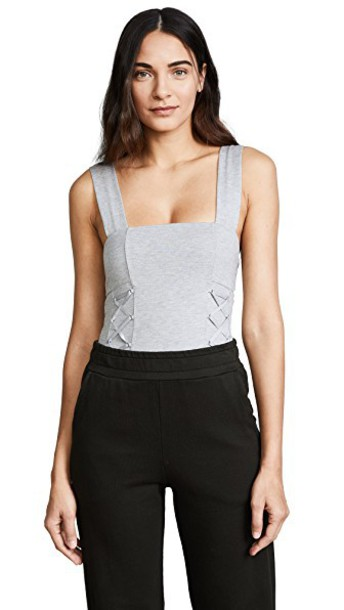 KENDALL + KYLIE bodysuit thong knit grey underwear