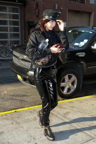 pants all black everything bella hadid model off-duty streetstyle hat vinyl jacket