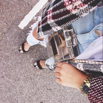 blouse jacket cardigan kimono blogger tartan print winter outfits tassel fringes tartan coat tartan jacket