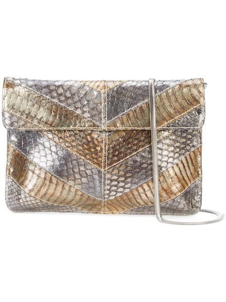 Inge Christopher women clutch grey metallic bag