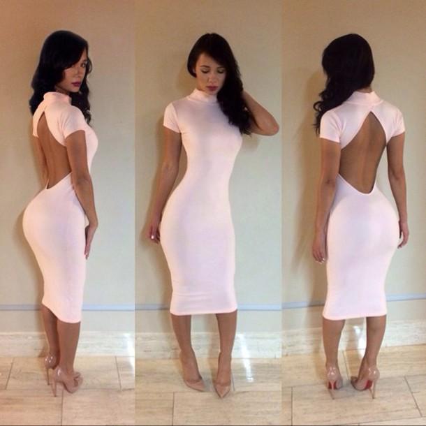 44ffa56bc486 pink dress bodycon dress backless dress dress girly girl girly wishlist bodycon  sexy dress light pink