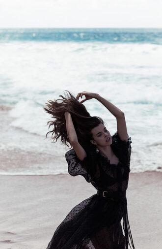 zanita blogger belt belted dress fringes waist belt black dress see through dress maxi dress