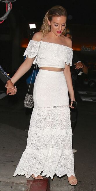 skirt top off the shoulder lace skirt maxi skirt all white everything perrie edwards crop tops summer outfits little mix