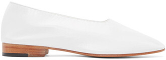 flats leather white shoes