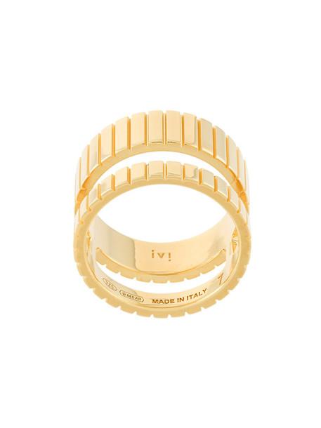 I.V.I. women ring gold grey metallic jewels