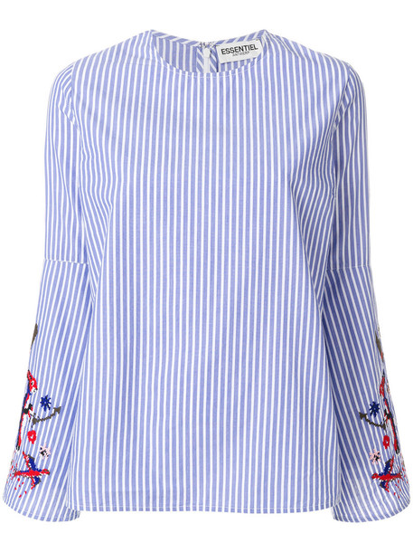 ESSENTIEL ANTWERP blouse embroidered women cotton blue top