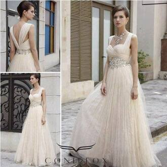 dress prom white tulle skirt champange beading capsleeve floor length dress prom dress natural waistline sweetheart neckline