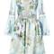 Marchesa - embroidered flowers gathered dress - women - silk/nylon - 8, blue, silk/nylon
