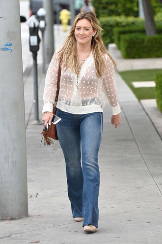 jeans flare jeans hilary duff blouse polka dots sheer