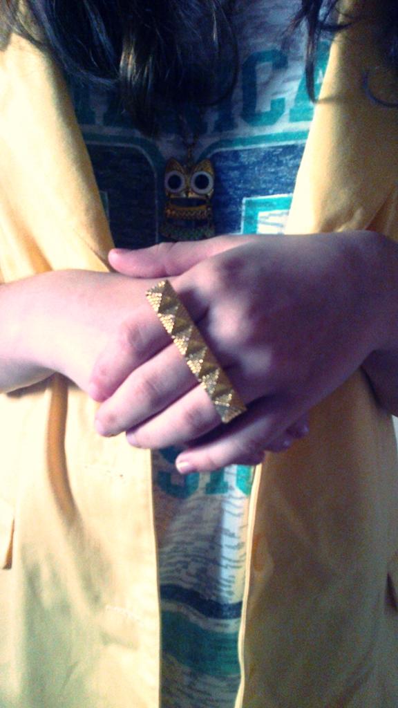 Pyramid Stud Detail Three-Finger Ring - OASAP.com