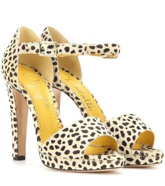 hair sandals beige shoes
