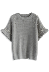 top,pearls embellished waffle knit top in grey,chicwish,grey,pearl,embellished