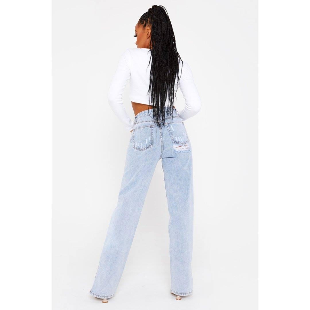 Bum Distressed Bleach Wash Straight Leg Split Hem Jeans