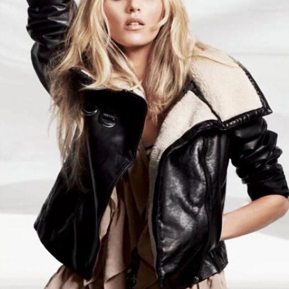 jacket moto jacket pu jacket black jacket fur jacket shearling jacket