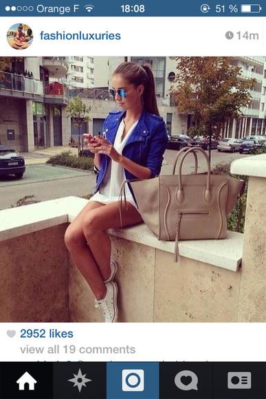 jacket bag blue jacket