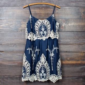 dress blue white lace blue dress boho boho dress