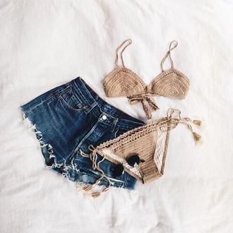 swimwear bathing suit top style boho brown swimwear bikini bikini top hipster bikini tumblr bikini toffee coffee brown knitwear summer holidays