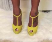 shoes,neon yellow,peep toe,t-strap,high heels,platform shoes