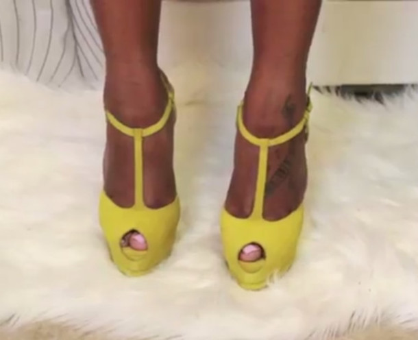 shoes neon yellow peep toe t-strap high heels platform shoes fff5931c1c
