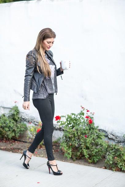 a8095409eb0c4 ashlee frazier, blogger, t-strap heels, black leggings - Wheretoget
