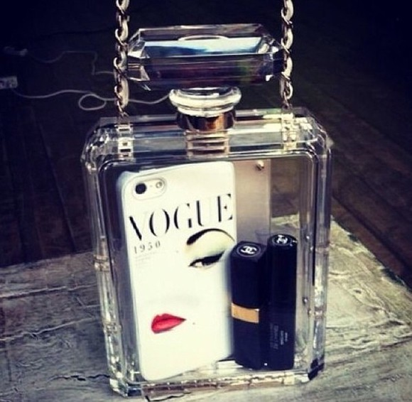 bag white phone chanel phonecase bottle clear designer gold silver lipstick makeup black vogue