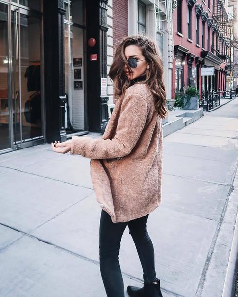 1e8cde9795a coat tumblr camel camel coat teddy bear coat sunglasses aviator sunglasses jeans  denim black jeans skinny