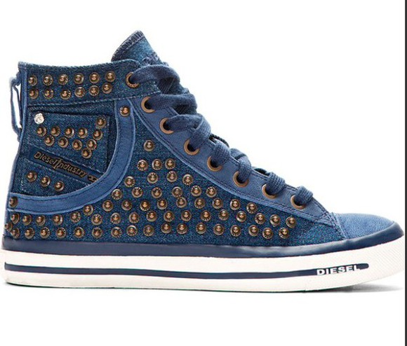 diesel denim studs hi tops