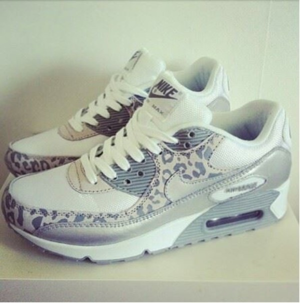 leopard nikes nike air max 90 nike nike sneakers shoes leopard print air max air max grey sneakers
