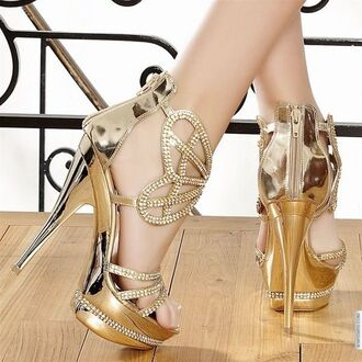 shoes gold high heels wedding bridesmaid