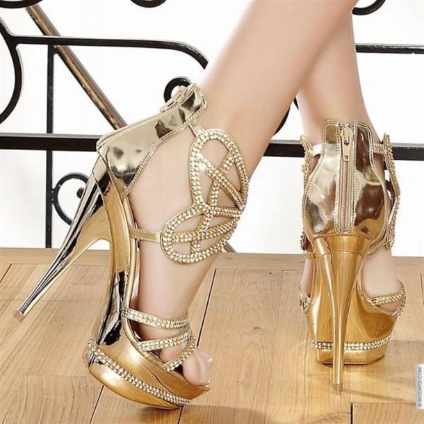 b8f4765c6663 shoes gold high heels wedding bridesmaid