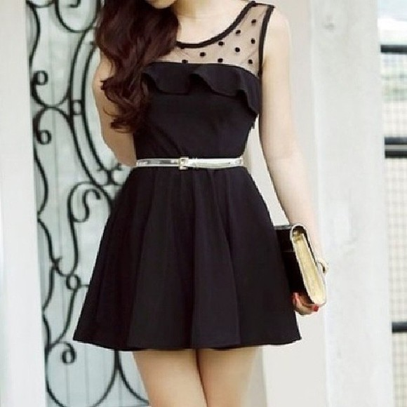dress ruffles little black dress polka dots dress