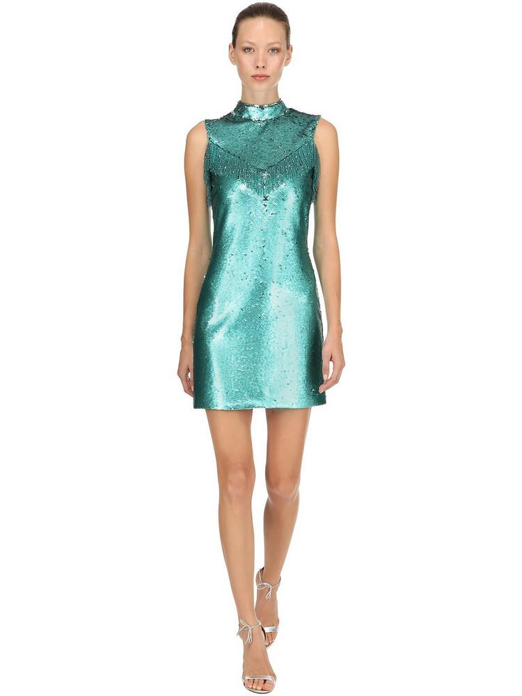 VIVETTA Sequined Mini Dress W/ Fringes