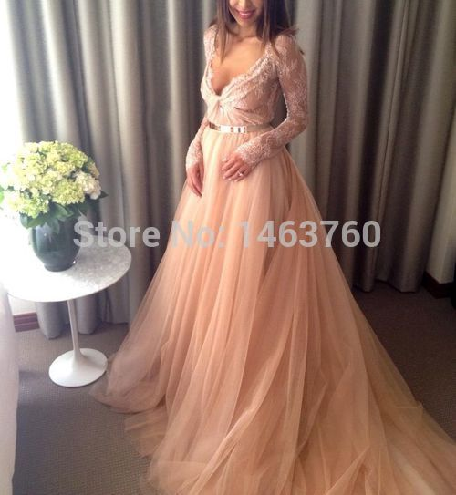 plus size long sleeve prom dresses puffy champagne tulle ...